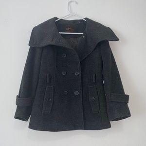Cole Haan Wool Cashmere Blend Black Gray Peacoat